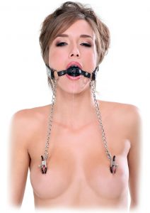 Fetish Fantasy Extreme Deluxe Ball Gag And Nipple Clamps