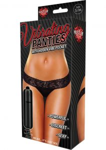 Hustler Toys Vibrating Panties Lace Thong With Hidden Vibe Pocket Black Small/Medium