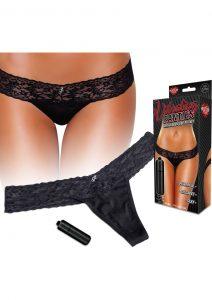Hustler Toys Vibrating Panties Lace Thong With Hidden Vibe Pocket Black Small/Medium