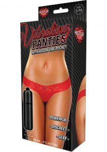 Hustler Toys Vibrating Panties Lace Thong With Hidden Vibe Pocket Red Small/Medium
