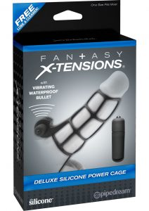 Fantasy Xtensions Silicone Deluxe Power Vibrating Cock Cage Black