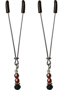 Sex And Mischief Ruby Black Adjustable Nipple Clips With Beads