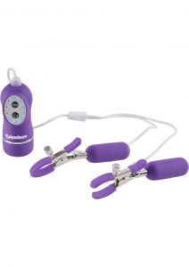 Fetish Fantasy Series 10 Function Vibrating Nipple Clamps Purple