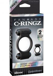 Fantasy C Ringz Magic Touch Couples Ring Vibe Silicone Cockring Waterproof Black