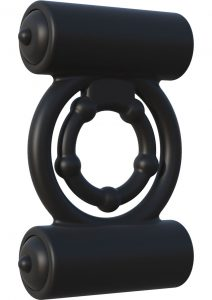 Fantasy C Ringz Extreme Double Trouble Vibrating Silicone Cockring Waterproof Black