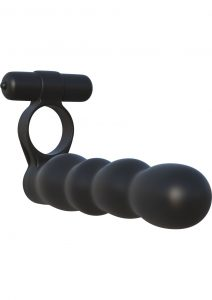 Fantasy C Ringz Posable Partner Silicone Double Penetrator Cockring Waterproof Black