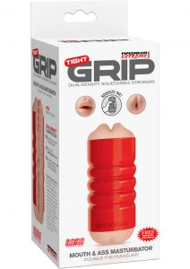 Pipedream Extreme Tight Grip Dual Density Squeezable Mouth and Ass Masturbator Red