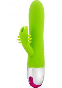 Aria Brilliant Silicone Rabbit Vibe Waterproof Green 7.75 Inch