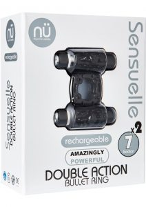 Double Action Bullet C Ring 7 Function Silicone Rechargeable Waterproof Black