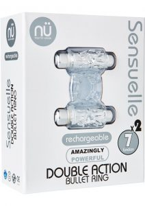 Double Action Bullet C Ring 7 Function Silicone Rechargeable Waterproof Clear