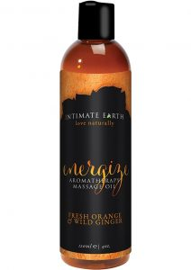 Intimate Earth Energize Aromatherapy Massage Oil Fresh Orange and Wild Ginger 4 Ounce