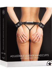 Ouch Adjustable Leather Handcuffs With Adjustable Straps Black