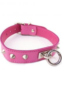 Rouge O Ring Studded Leather Collar Pink