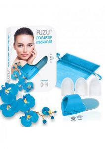Fuzu Silicone Fingertip Massager With Textured Tips Blue