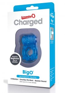 Charged BigO Rechargeable Vibe Ring Waterproof Cockring Blue