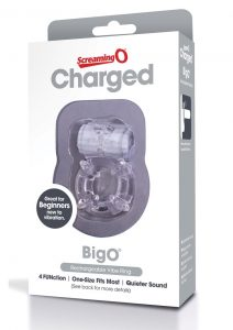 Charged BigO Rechargeable Vibe Ring Waterproof Cockring Clear