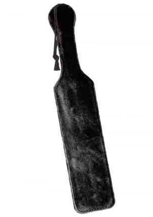 Fur Lined Leather Paddle 14.5 Inch Black