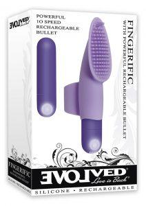 Fingerific Silicone Finger Clitoral Stimulator Rechargeable Waterproof Purple