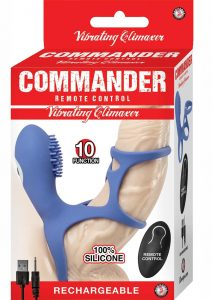 Commander Remote Control Vibrating Climaxer Silicone USB Rechargeable Clit Stimulating Cock Cage Waterproof Blue 2.5 Inches