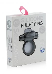Silicone Bullet Ring With Clit USB Stimulator Rechargeable Multi Speed Black