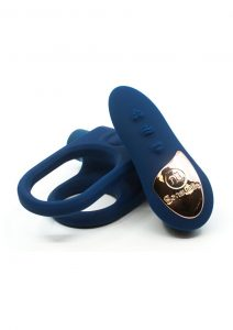 Nu Sensuelle Silicone Bullet Ring XLR8 Rechargeable Vibrating Cock Ring with Remote Control - Blue