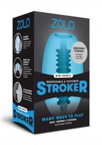 Zolo Squeezable and Textured Mini Bubble Male Masurbator Non Vibrating Blue