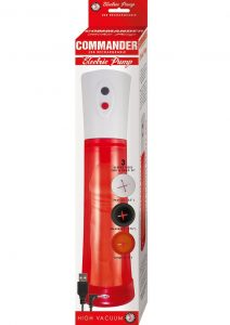 Commander Electric Rechargeable Penis Pump - Red