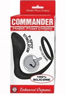 Commander Prostate Pleaser Silicone Cock Ring - Black