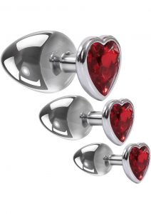 Adam andamp; Eve Three Hearts Gem Anal Plug Kit (3 Piece Set) - Red