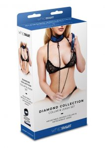 Whip Smart Diamond Collar And Leash Blue