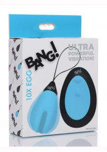 Bang 10X Rechargeable Silicone Vibrating Egg With Remote Control - Blue