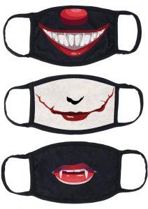 Maskerade Protective Mask (Joker/ Penny Wise/ Vampire) 3 Pack - Black