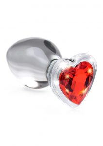 Booty Sparks Red Heart Gem Glass Anal Plug - Large - Red/Clear