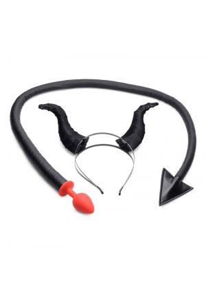 Tailz Devil Tail Anal Plug And Horns Set 2pc - Black
