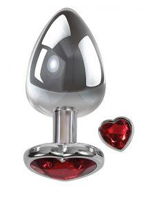 Adam andamp; Eve Heart Gem Anal Plug Medium - Silver/Red