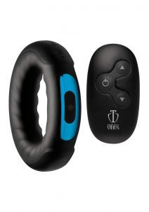 Trinity Vibes Remote Control 7x Rechargeable Silicone Cock Ring - Black