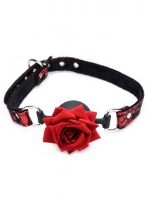 Master Series Silicone Ball Gag With Rose - Red/Black