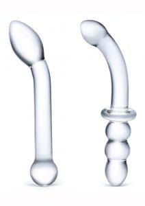 Glas G-Spot Pleasure Dildo Set (2 Piece) - Clear