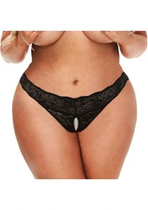 Secret Kisses Lace andamp; Pearl Crotchless Thong - Queen - Black
