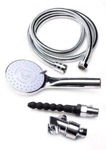 CleanStream Discreet Shower Silicone Enema Set - Silver/Black